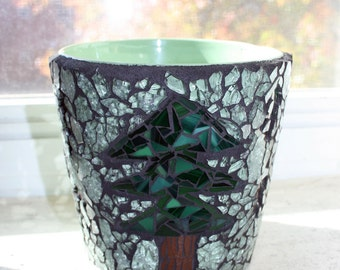 Mosaic Tree Flower Pot, Mosaic Tree, Vase, Stained Glass Mosaic, Tree, Pine Tree Mosaic, Woodland Decor, For The Home, Anniversary, Wedding