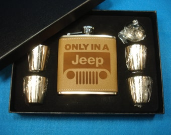 Jeep Flask Set - Leather flask gift set, great gift for a Jeep owner!