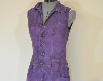 Purple Jrs. Small Bib OVERALL Shorts - Violet Dyed Upcycled No Boundaries Denim Romper Shortalls - Adult Womens Sz Juniors Small (34 chest)