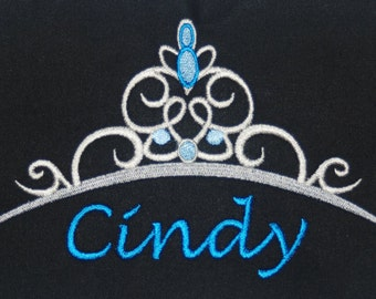 Disney's Cinderella inspired t-shirt w embroidered Cinderella Tiara and personalized w your name - perfect for Disney fans
