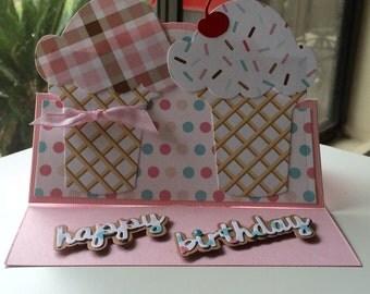 Happy Birthday Ice Cream Cones  Handmade Greeting Card