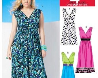 Sewing Pattern Women's Easy Dress Pattern, V Neck Dress Pattern, Casual Long Dress Pattern, McCall's Sewing Pattern 6073