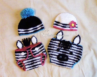 Baby Zebra Diaper Cover, Hat, Headband Set, Photo prop - INSTANT DOWNLOAD Crochet Pattern