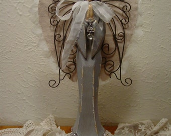 Wood Carved Angel - Angel Figurine - Santos Nordic Angel - Home Decor - Nordic Farmhouse Decor