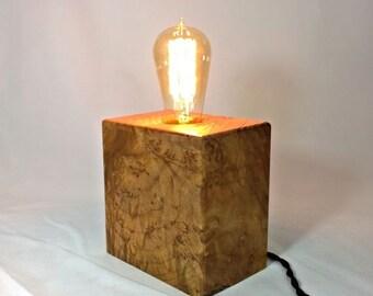 BURLED MAPLE WOOD Edison Lamp - wood lamp - danishmodern - table lamp - lighting - lamp - bedside lamp - unique lamp - edison lamp