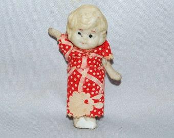 Vintage / Bisque / Doll / Flapper / floral / Dress / frozen charlotte / penny doll / Vintage Dolls