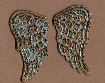 Hand Dyed Venise Lace Sweet Angel Wings Petite Appliques Aged Copper Turquoise