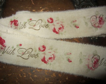Hand Stamped Rose Ticking Valentine Ribbon Tea Stained With Love