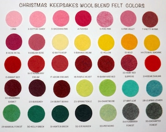 Wool Felt Sample Color Chart - Wool Blend Felt Chart