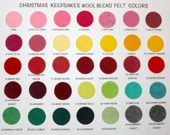 Wool Felt Sample Color Chart - Wool Blend Felt Chart