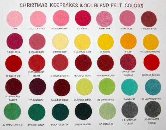 Wool Felt Sample Color Chart   Wool Blend Felt Chart From  Christmaskeepsakes On Etsy Studio