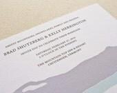 Winter Mountains Wedding Invitation, Digital printed SAMPLE