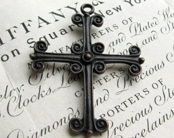 Large rustic cross pendant from Bad Girl Castings, 55mm solid antiqued black pewter, oxidized, distressed, Medieval, Renaissance hardware