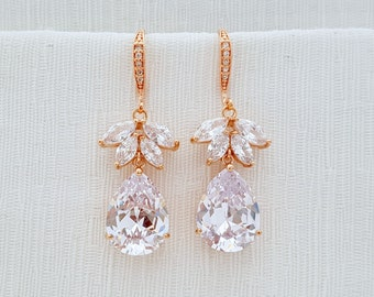 Rose Gold Wedding Earrings Bridal Jewelry Crystal Bridal Earrings Clear Cubic Zirconia Drop Wedding Jewelry Dangle Earrings, Roxanne