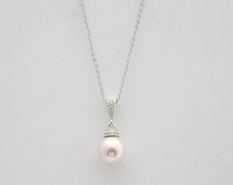 Blush Pink Pearl Bridal Necklace Wedding Bridesmaid Gift Swarovski Pink Pearl Pendant Wedding Jewelry Single Pearl Wedding Necklace, Rose