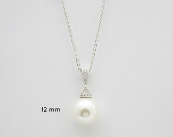 Pearl Jewelry Bridal Necklace Swarovski Ivory White OR Cream Large 12mm Single Pearl Pendant Necklace Pearl Wedding Necklace, Amelia