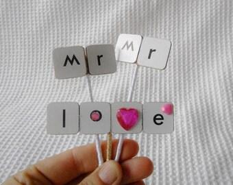 Mr and Mr Love Mini  Cake topper Wedding Engagemnet anniversary