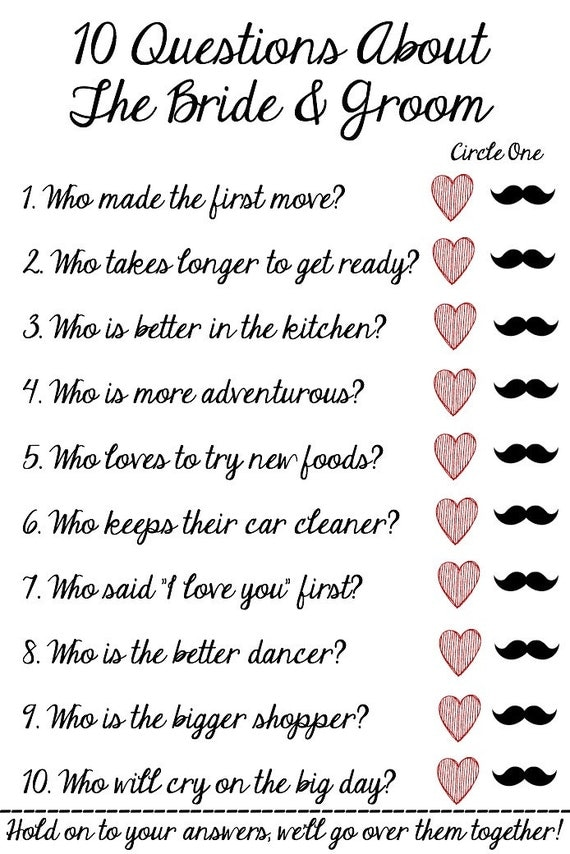 Bridal Shower Ask the Groom Questions Game - Rules and Ideas