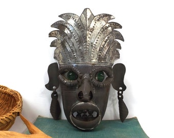 vintage 60s artwork handcrafted mask mexican brutalist folk art metal cut tin tribal african human face aged patina wall hanging home decor