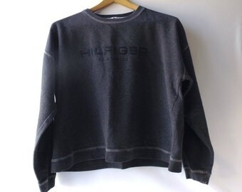 vintage 1990's tommy hilfiger sweatshirt cropped charcoal grey gray medium womens clothing fashion clothes shirt retro modern embroidered