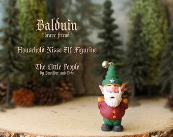 Balduin - Miniature Nisse - Household Gnome or Elf Figurine - Helpful Spirit - Little People by Bewilder and PIne - Polymer Clay Sculpture