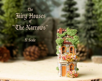 """The Fairy Houses of The """"Narrows"""" - Enchanted N Scale Stone Houses with Flower Boxes, Mossy Tile Roof and Colorful Doors - Terrarium Decor"""