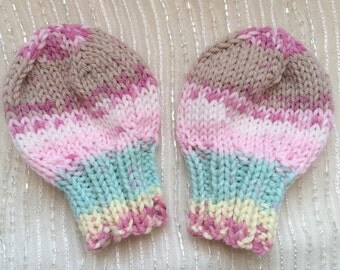 Hand Knit Newborn Mittens - Infant Mittens - THUMBLESS Mittens - Baby Mittens - Machine Washable and Dryable -  Pink, Blue, Yellow, Brown