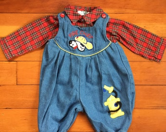 80s Good n Tacky Fire Chief Overalls w/ Red Plaid Shirt size 6 to 9 months