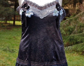 Black and Gunmetal Gray Up-Cycled Slip Top with Blue Trim