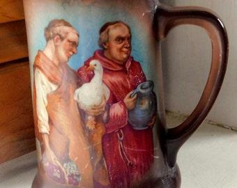 Vintage Pottery Stein/Monks Image on Stein Mug/Austria pottery mug stein