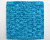 Knit Dishcloth, Cotton Dishcloth, Knitted Washcloth, Basketweave Dishcloth, Peacock Blue Kitchen Cloth
