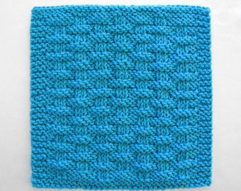 Knit Dishcloth, Cotton Dishcloth, Knitted Washcloth, Basketweave Dishcloth, Peacock Blue Kitchen Cloth