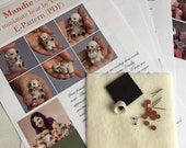 Complete sewing KIT for making miniature polar bear, DIY a teddy bear, how to sew a teddy bear, mini bear pattern, step-by-step tutorials
