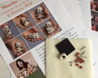 Complete sewing KIT for making miniature polar bear Mandie
