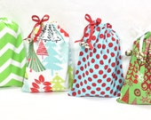 Extra Small Fabric Christmas Gift Bags Set with Drawstrings & Jingle Bells - Reusable and Eco-Friendly