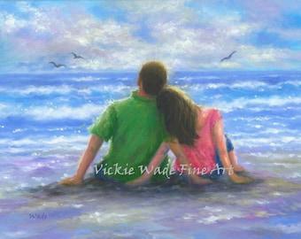 Beach Lovers 12X16 Original Oil Painting, beach paintings, ocean, loving couple, at beach, original beach painting, Vickie Wade paintings
