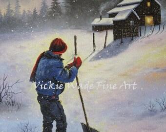 Farm Boy Snow Original Oil Painting 11X14, country boy painting, shoveling snow, nostalgic,winter art, original canvas art, Vickie Wade Art