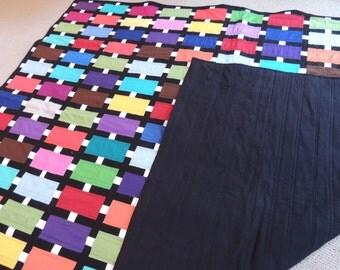 Modern quilt/City Lot Quilt/ Solids Rainbow of colors