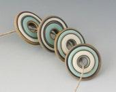 Rustic Disks - (4) Handmade Lampwork Beads - Mint, Ivory