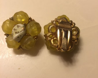 Yellow rock and brass vintage clip on earring