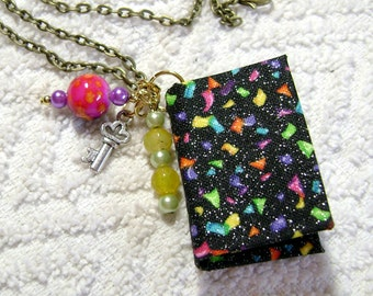 Birthday Party Gift - Handmade Book Necklace - Book Jewelry - Book Pendant - Book Journal - Handmade Book - Rainbow Confetti Fabric - BN-214