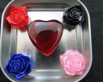 Fridge magnet set, rose magnets, heart magnets, strong magnets, neodymium magnets, refrigerator magnets, graduation gift 519