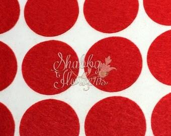 Adhesive Felt Circles, felt dots, 1.5 inch felt for headbands and bows, 12 felt dots per sheet - Red