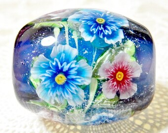 DISCOUNT!!!  Pink & Blue Double Rose of Sharon Flower Satake Glass Lampwork Round Flower Bead sra
