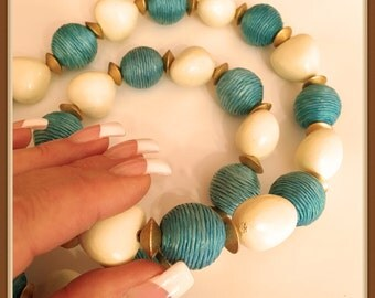 Vintage Chunky White Heart Necklace, Wood, Aqua Beads, 1980's