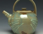 Ceramic Teapot, Stoneware Serving Vessel with Arch Handle