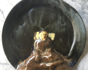 Ceramic Platter Bas Relief Wall Art Serving Sculpture Buddha Figure In Meditation with Textured Glaze