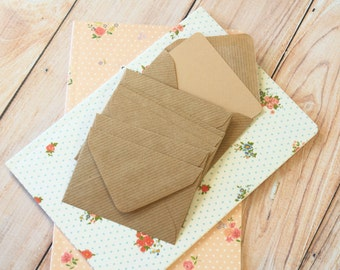 Ribbed Kraft Mini Envelopes & Buff Brown Note Cards 10pc set