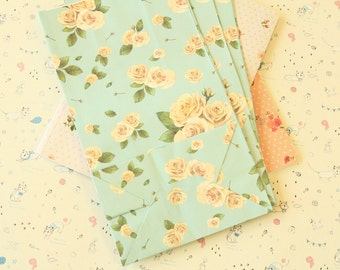 BLUE with Cream Roses Floral Paper Bags