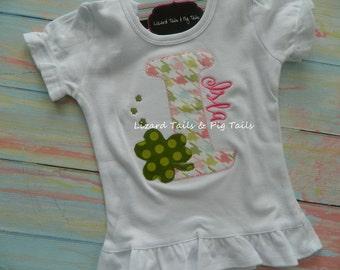 Girls St. Patrick's Day Shirt Clover Initial Alphabet Shirt St Patty's Day